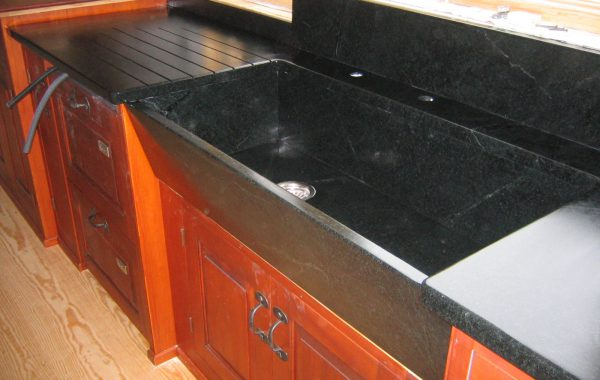 Soapstone Sink with Custom Drainboard